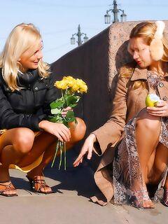 Две европейские лесбиянки встретились для орального секса