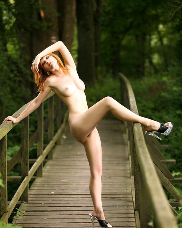 Голая красавица на мосту