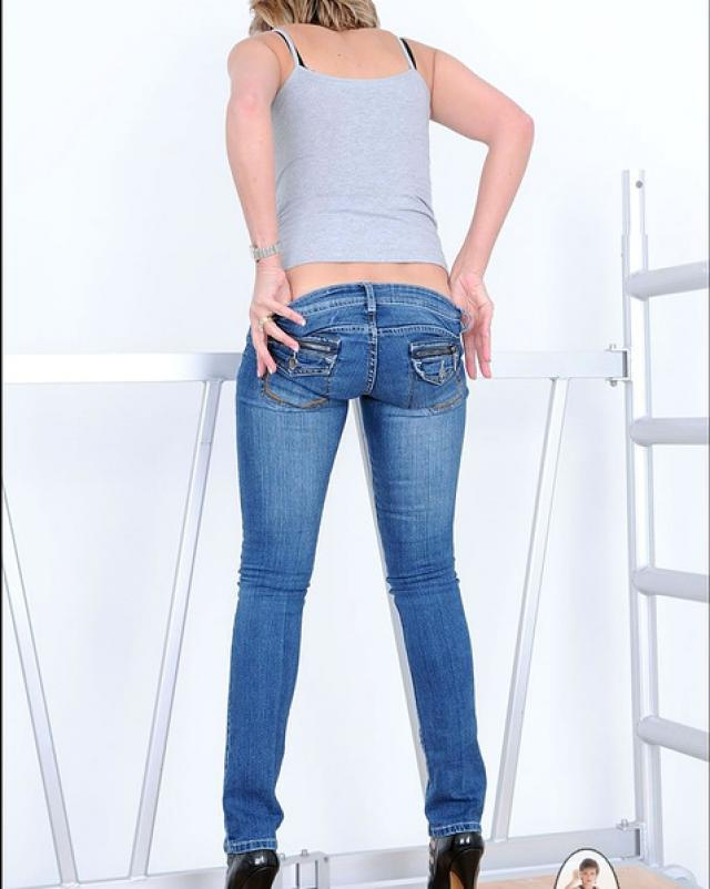 Mature women in jeans stock photos