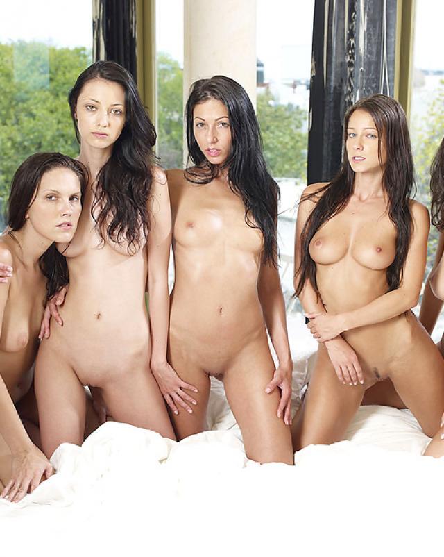 Русские лесбиянки толпой разделись на эротический фото альбом